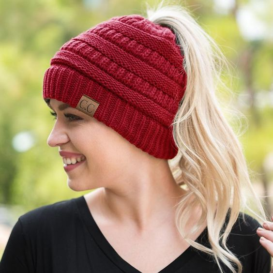 Ponytail Stretchy Knit Beanie For Mom